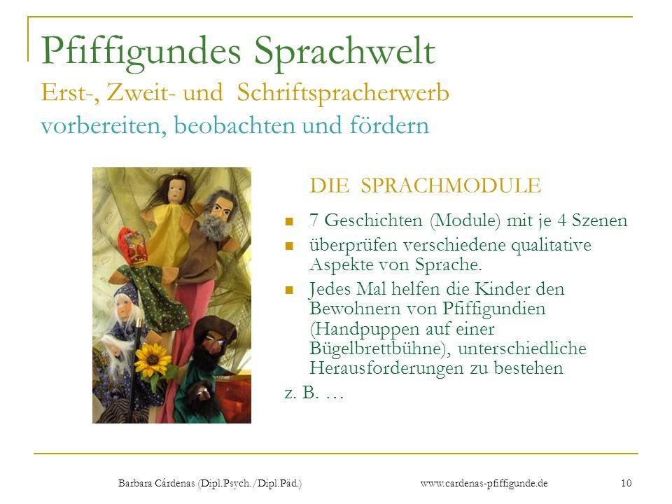Barbara Cárdenas (Dipl.Psych./Dipl.Päd.) www.cardenas-pfiffigunde.de 10 Pfiffigundes Sprachwelt Erst-, Zweit- und Schriftspracherwerb vorbereiten, beo