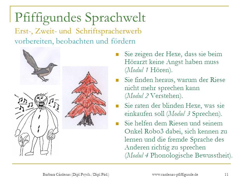 Barbara Cárdenas (Dipl.Psych./Dipl.Päd.) www.cardenas-pfiffigunde.de 11 Pfiffigundes Sprachwelt Erst-, Zweit- und Schriftspracherwerb vorbereiten, beo