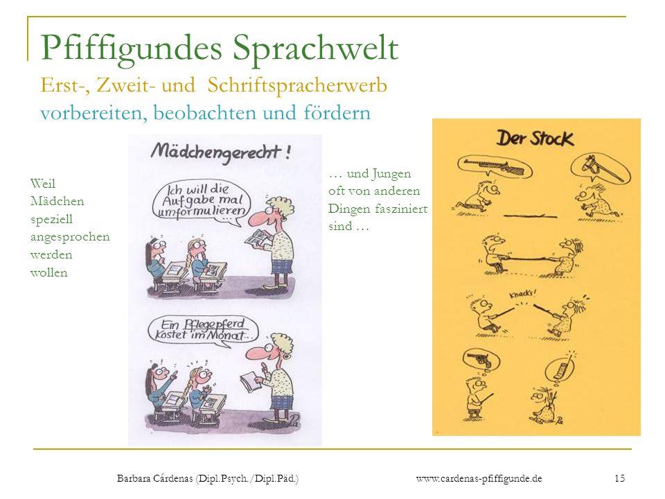 Barbara Cárdenas (Dipl.Psych./Dipl.Päd.) www.cardenas-pfiffigunde.de 15 Pfiffigundes Sprachwelt Erst-, Zweit- und Schriftspracherwerb vorbereiten, beo