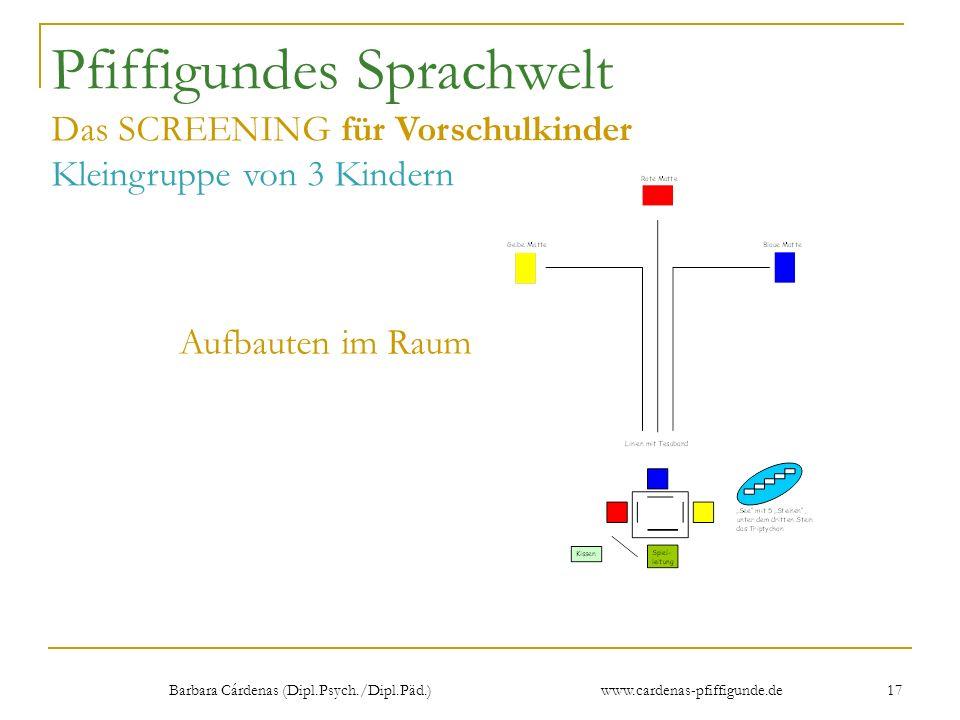 Barbara Cárdenas (Dipl.Psych./Dipl.Päd.) www.cardenas-pfiffigunde.de 17 Pfiffigundes Sprachwelt Das SCREENING für Vorschulkinder Kleingruppe von 3 Kin