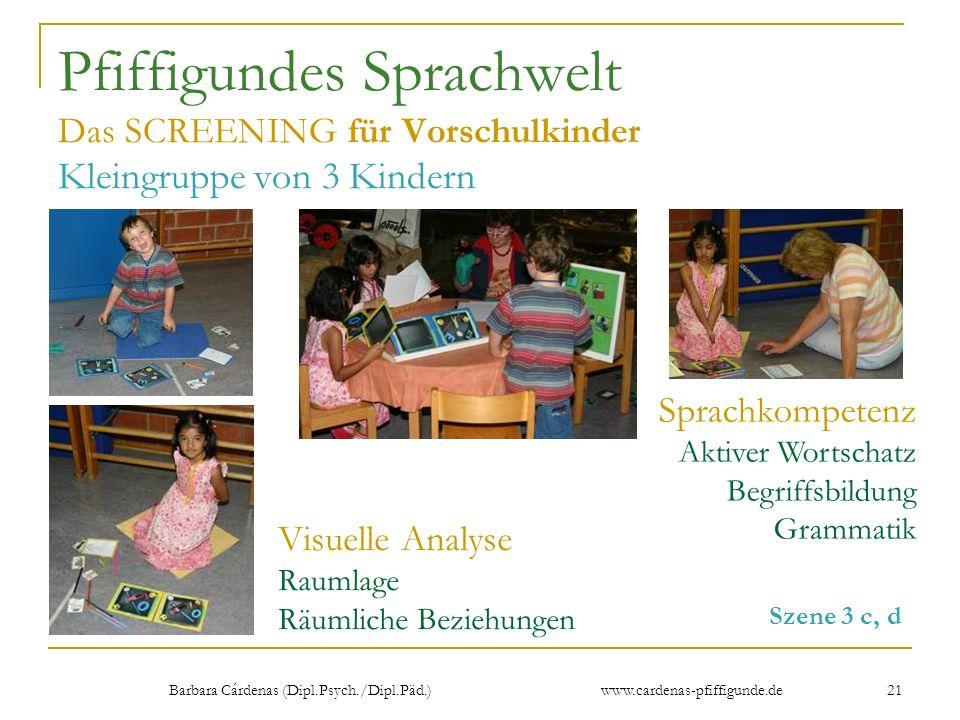 Barbara Cárdenas (Dipl.Psych./Dipl.Päd.) www.cardenas-pfiffigunde.de 21 Pfiffigundes Sprachwelt Das SCREENING für Vorschulkinder Kleingruppe von 3 Kin