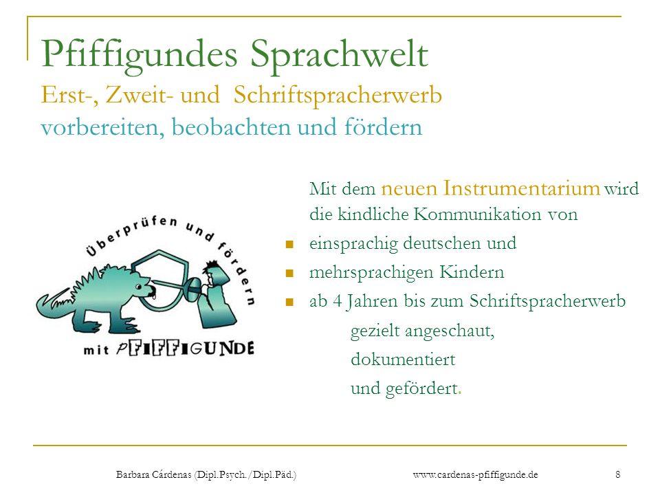 Barbara Cárdenas (Dipl.Psych./Dipl.Päd.) www.cardenas-pfiffigunde.de 8 Pfiffigundes Sprachwelt Erst-, Zweit- und Schriftspracherwerb vorbereiten, beob