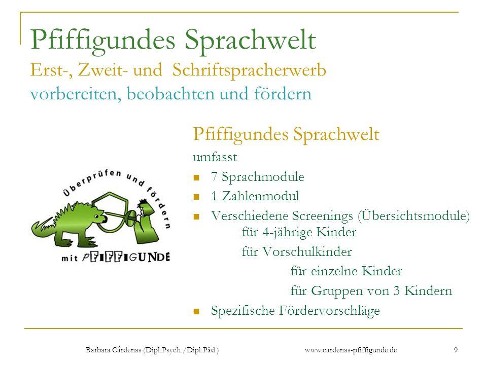 Barbara Cárdenas (Dipl.Psych./Dipl.Päd.) www.cardenas-pfiffigunde.de 9 Pfiffigundes Sprachwelt Erst-, Zweit- und Schriftspracherwerb vorbereiten, beob