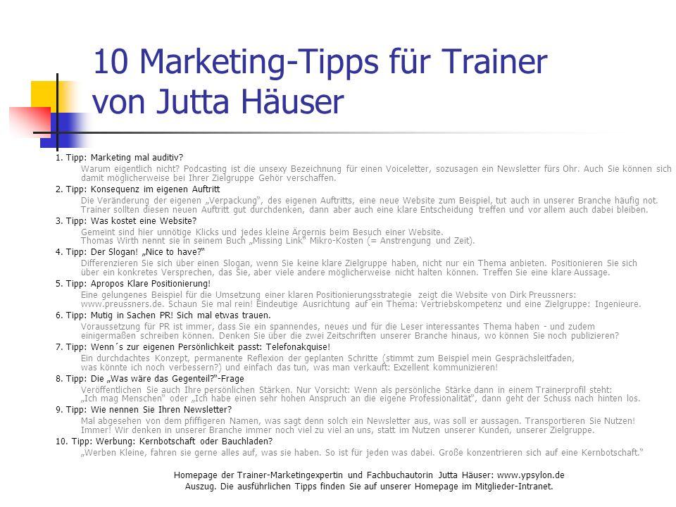 10 Marketing-Tipps für Trainer von Jutta Häuser 1.