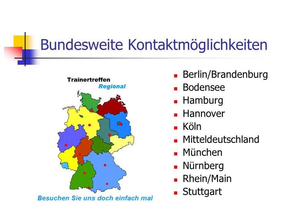 Bundesweite Kontaktmöglichkeiten Berlin/Brandenburg Bodensee Hamburg Hannover Köln Mitteldeutschland München Nürnberg Rhein/Main Stuttgart