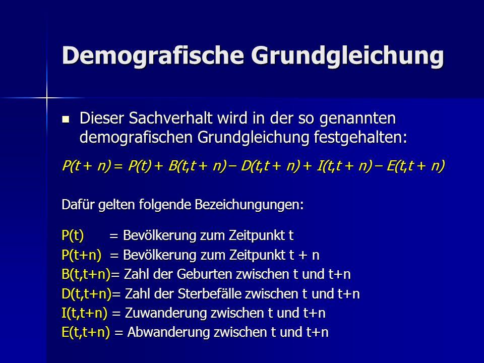 Dieser Sachverhalt wird in der so genannten demografischen Grundgleichung festgehalten: P(t + n) = P(t) + B(t,t + n) – D(t,t + n) + I(t,t + n) – E(t,t