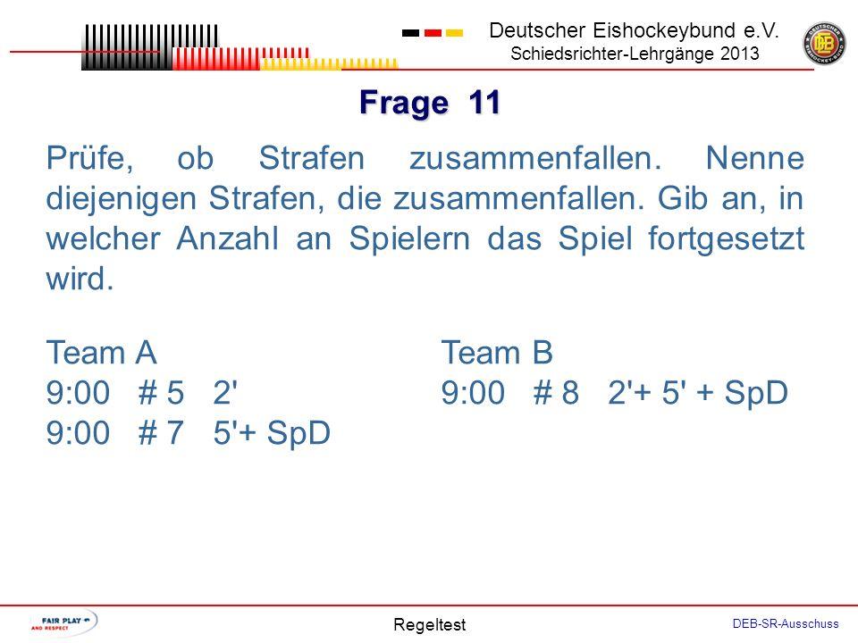 Frage 10 Deutscher Eishockeybund e.V. Schiedsrichter-Lehrgänge 2013 Regeltest DEB-SR-Ausschuss Der SR hatte nach einem Tor des Spielers A10 das entspr