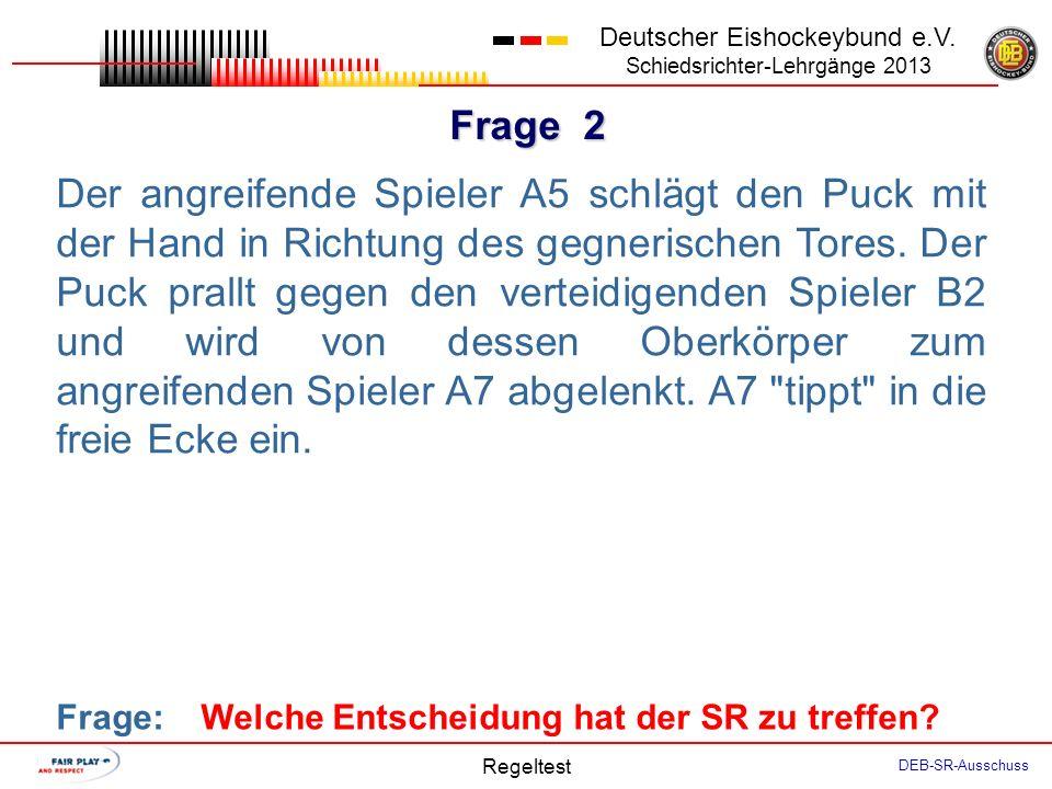 Frage 1 Deutscher Eishockeybund e.V. Schiedsrichter-Lehrgänge 2013 Regeltest DEB-SR-Ausschuss Um ein Anspiel in seiner EZ zu vermeiden, spielt der TH