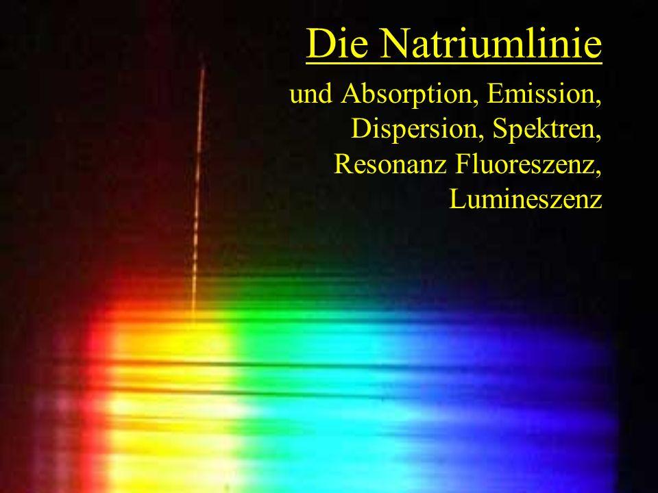 Die Natriumlinie und Absorption, Emission, Dispersion, Spektren, Resonanz Fluoreszenz, Lumineszenz