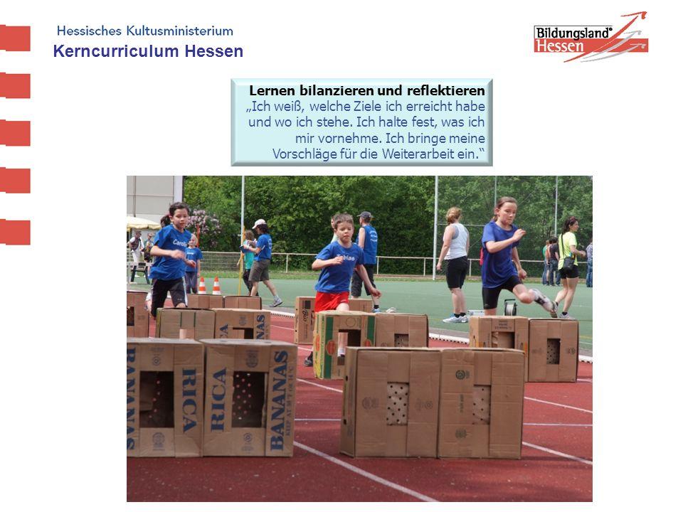 Kerncurriculum Hessen Lernen bilanzieren und reflektieren Ich weiß, welche Ziele ich erreicht habe und wo ich stehe. Ich halte fest, was ich mir vorne