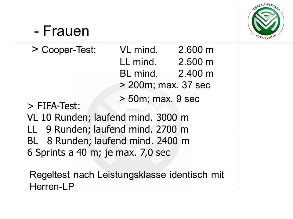 - Frauen > Cooper-Test: VL mind. 2.600 m LL mind. 2.500 m BL mind. 2.400 m > 200m; max. 37 sec > 50m; max. 9 sec Regeltest nach Leistungsklasse identi