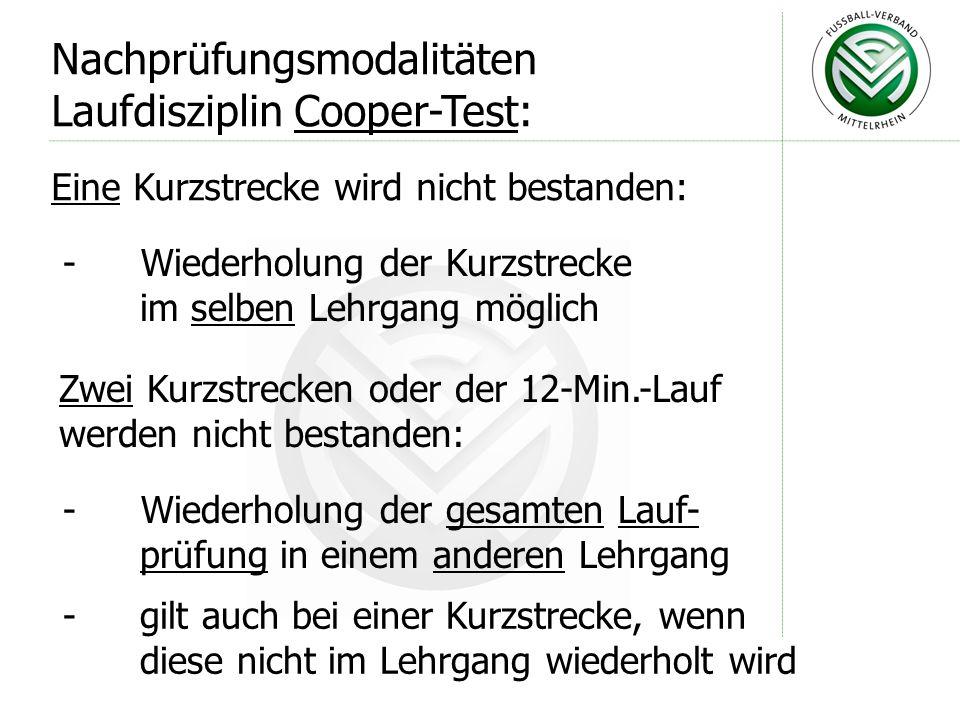 Eine Kurzstrecke wird nicht bestanden: Nachprüfungsmodalitäten Laufdisziplin Cooper-Test: - Wiederholung der Kurzstrecke im selben Lehrgang möglich Zw