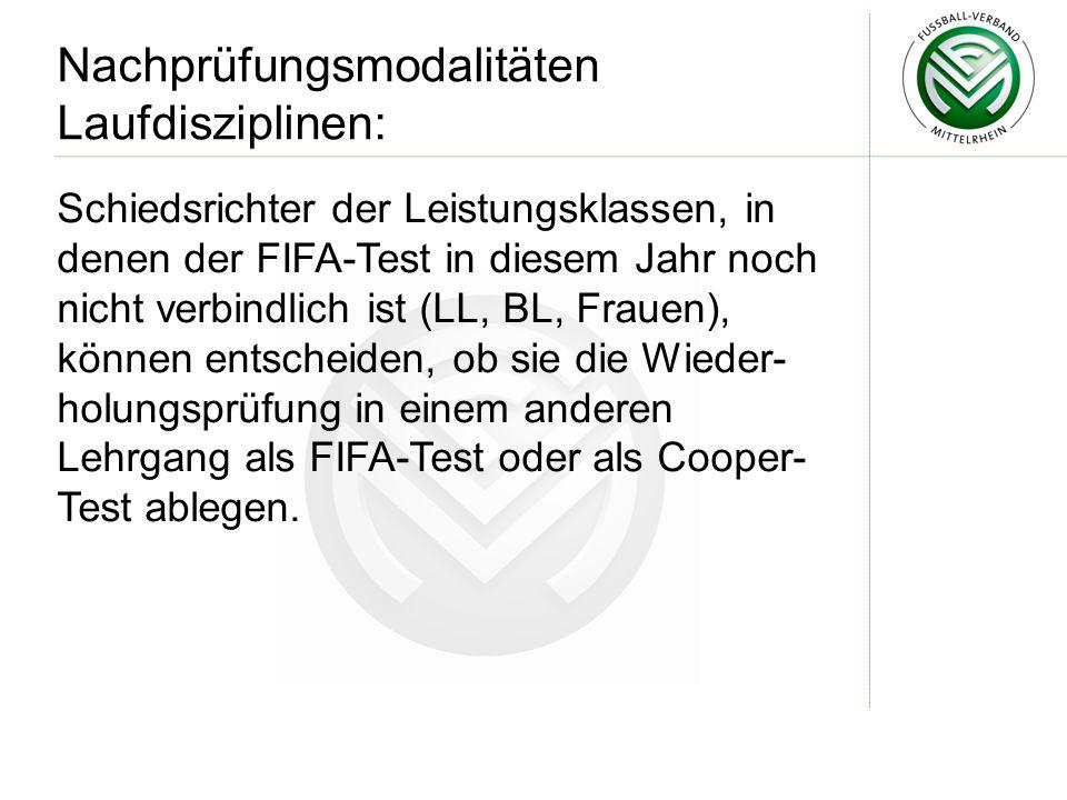 Schiedsrichter der Leistungsklassen, in denen der FIFA-Test in diesem Jahr noch nicht verbindlich ist (LL, BL, Frauen), können entscheiden, ob sie die