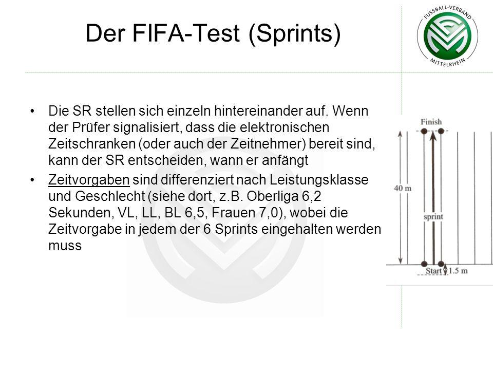 Der FIFA-Test (Sprints) Die SR stellen sich einzeln hintereinander auf. Wenn der Prüfer signalisiert, dass die elektronischen Zeitschranken (oder auch