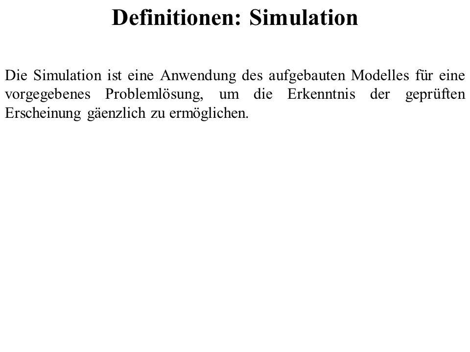Definitionen: Simulation Die Simulation ist eine Anwendung des aufgebauten Modelles für eine vorgegebenes Problemlösung, um die Erkenntnis der geprüften Erscheinung gäenzlich zu ermöglichen.