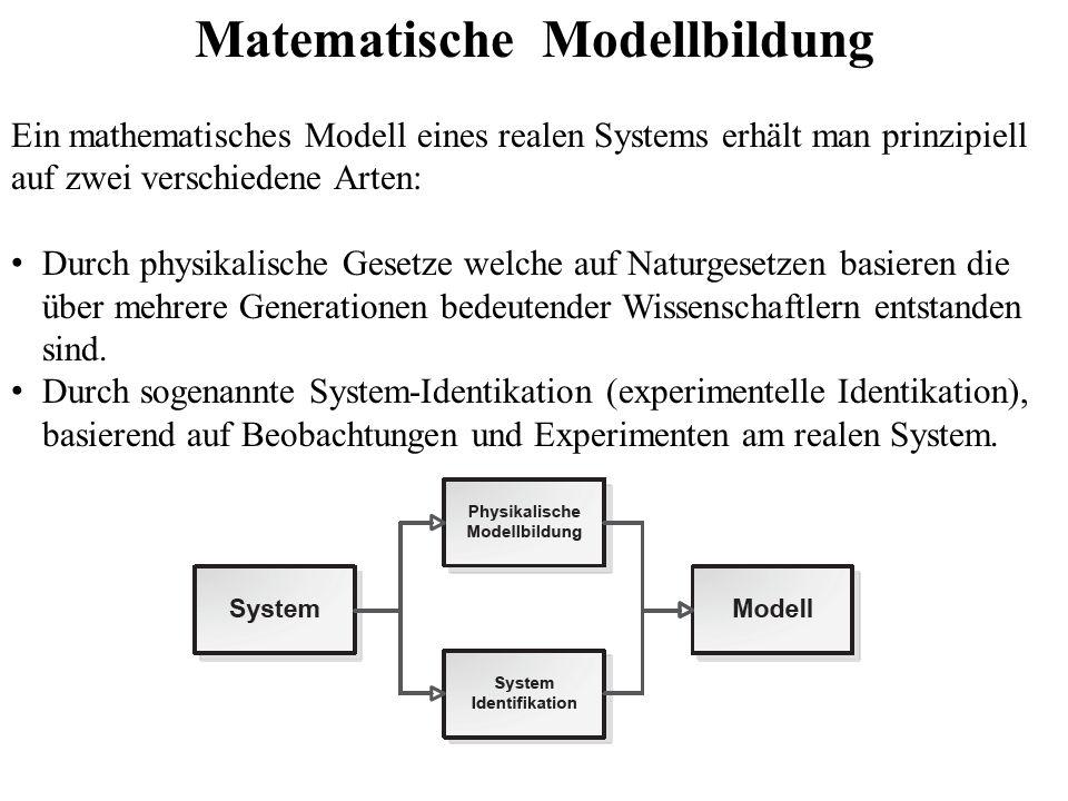 Matematische Modellbildung Ein mathematisches Modell eines realen Systems erhält man prinzipiell auf zwei verschiedene Arten: Durch physikalische Gesetze welche auf Naturgesetzen basieren die über mehrere Generationen bedeutender Wissenschaftlern entstanden sind.