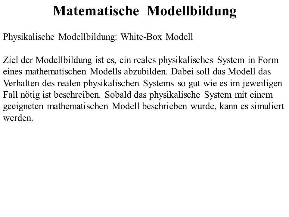 Matematische Modellbildung Physikalische Modellbildung: White-Box Modell Ziel der Modellbildung ist es, ein reales physikalisches System in Form eines mathematischen Modells abzubilden.