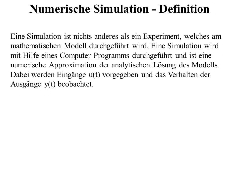 Numerische Simulation - Definition Eine Simulation ist nichts anderes als ein Experiment, welches am mathematischen Modell durchgeführt wird. Eine Sim