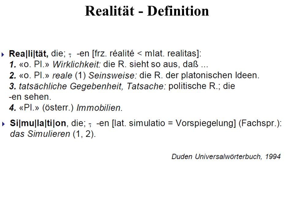Realität - Definition