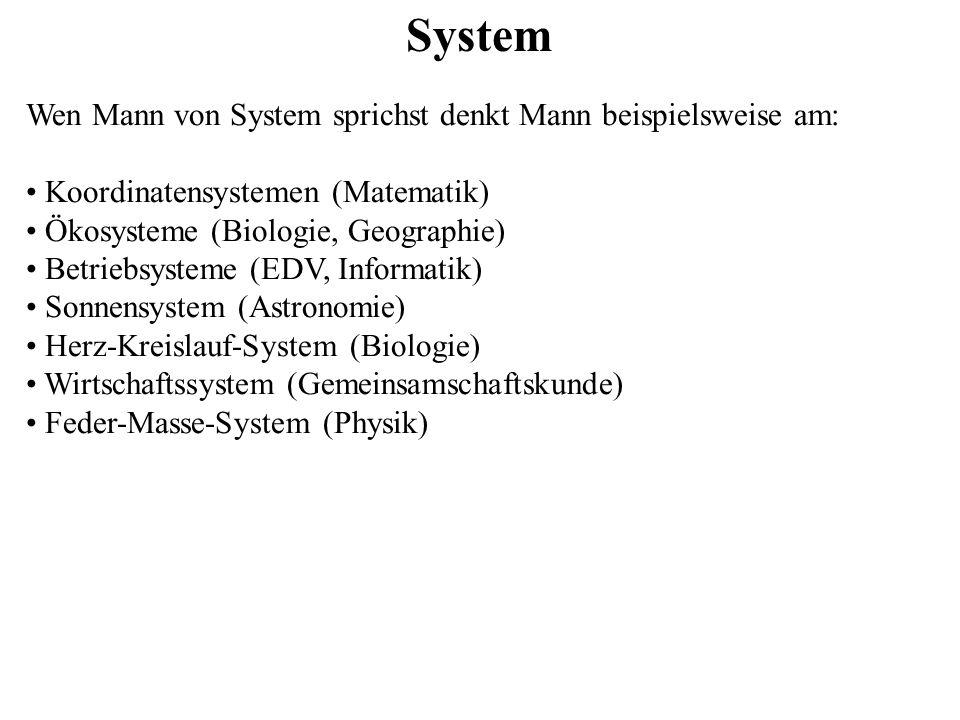 System Wen Mann von System sprichst denkt Mann beispielsweise am: Koordinatensystemen (Matematik) Ökosysteme (Biologie, Geographie) Betriebsysteme (ED