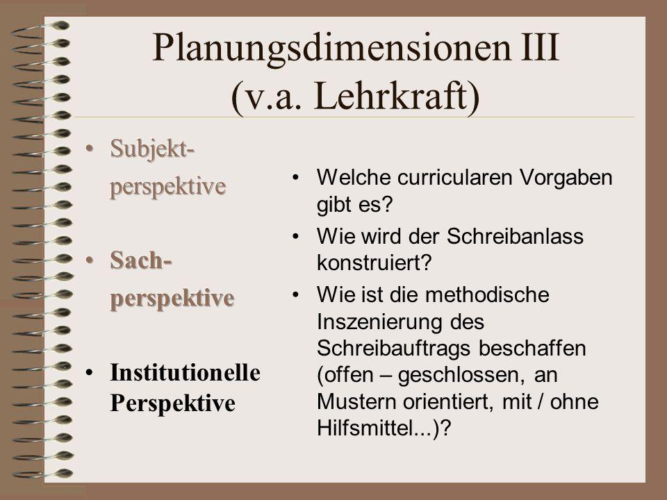 Planungsdimensionen III (v.a.Lehrkraft) Welche curricularen Vorgaben gibt es.