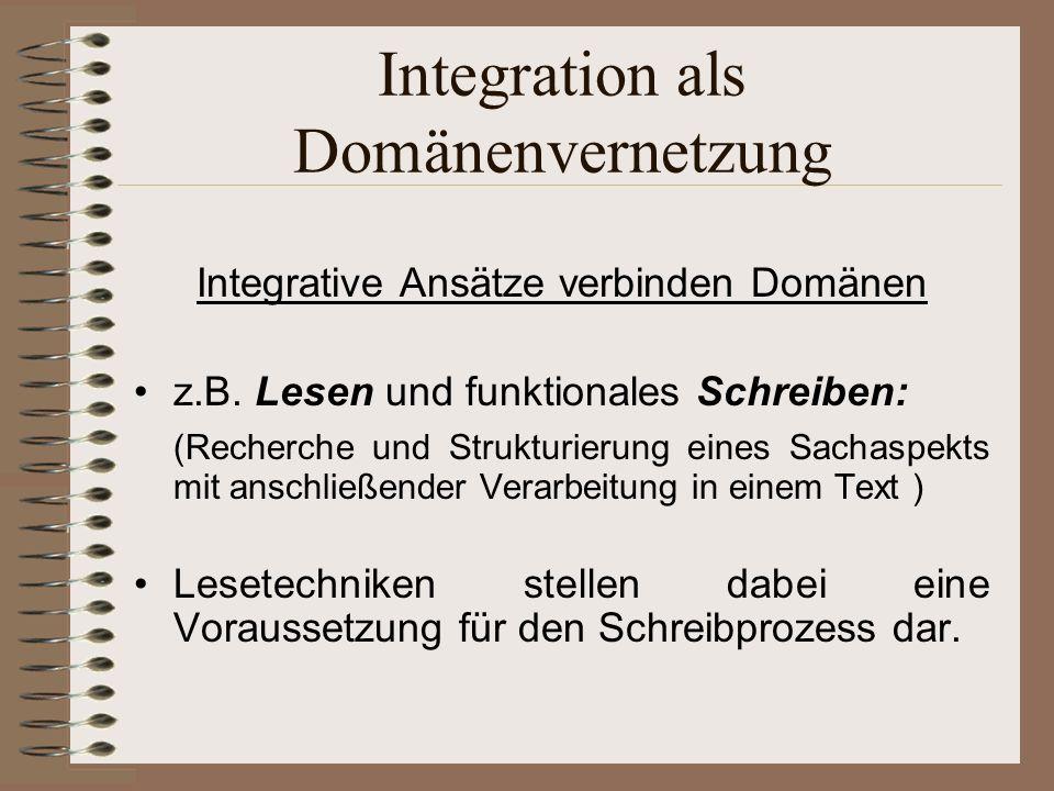 Integration als Domänenvernetzung Integrative Ansätze verbinden Domänen z.B.