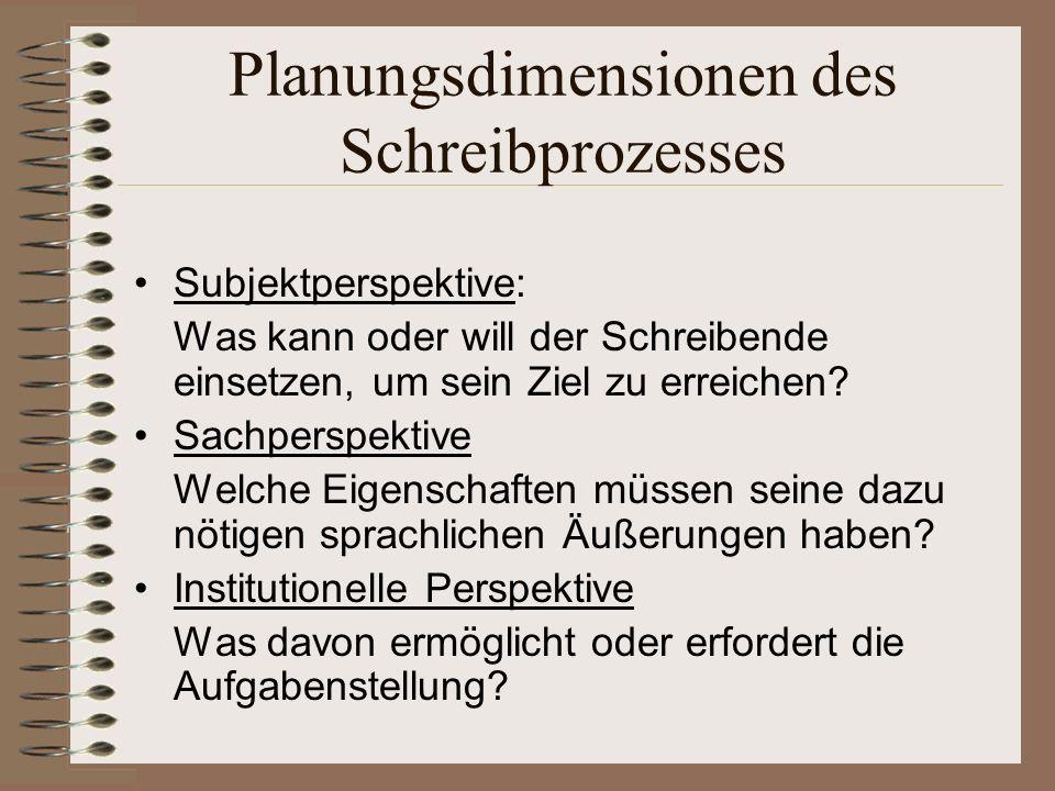 Planungsdimensionen I Wie ist es um die Sachkompetenz des Schreibenden bestellt.