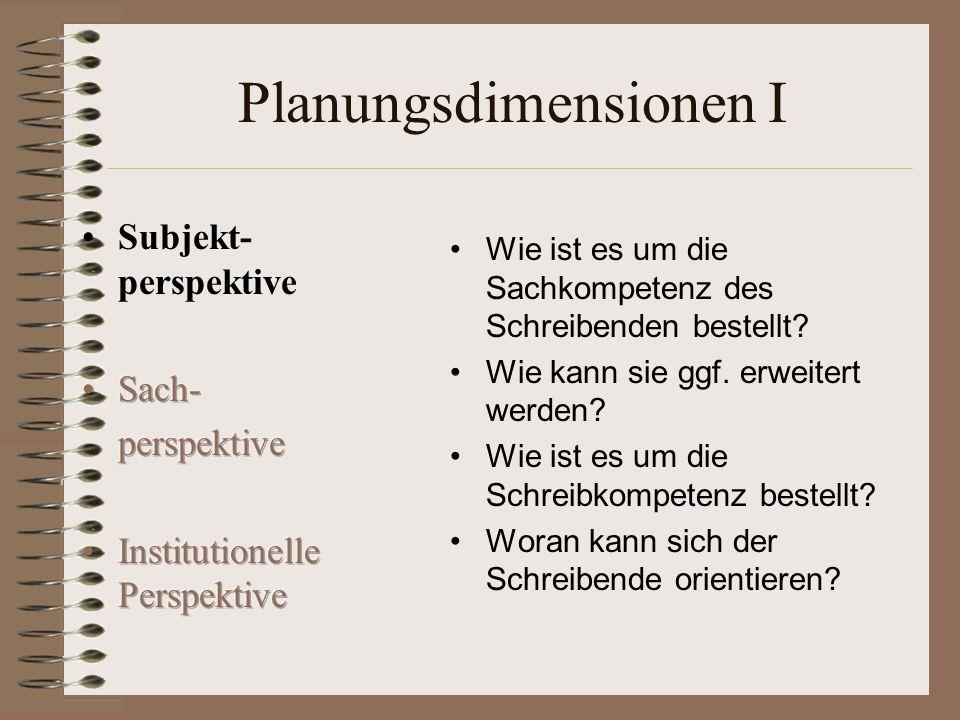 Planungsdimensionen II Welche Schreibfunktion liegt vor.