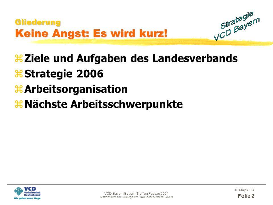 VCD Bayern - Bayern-Treffen Passau 2001 Matthias Striebich: Strategie des VCD Landesverband Bayern