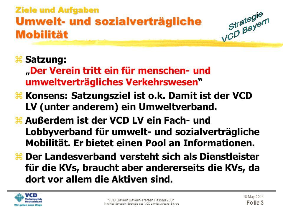 18 May 2014 Folie 2 VCD Bayern Bayern-Treffen Passau 2001 Matthias Striebich: Strategie des VCD Landesverband Bayerb Gliederung Keine Angst: Es wird k