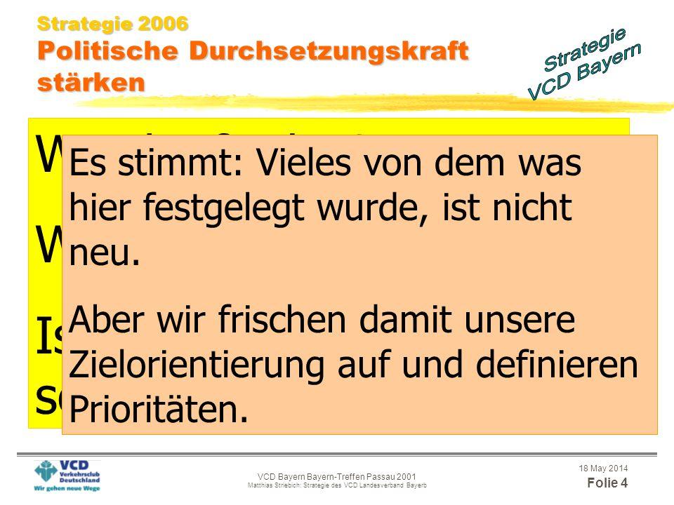 18 May 2014 Folie 3 VCD Bayern Bayern-Treffen Passau 2001 Matthias Striebich: Strategie des VCD Landesverband Bayerb Ziele und Aufgaben Umwelt- und so