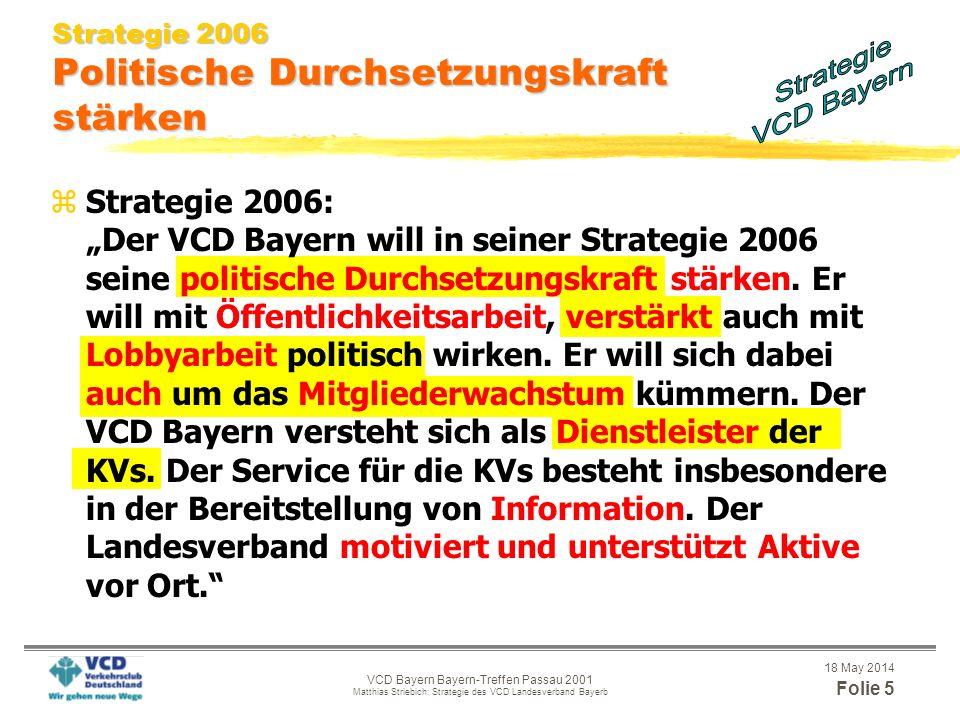 18 May 2014 Folie 4 VCD Bayern Bayern-Treffen Passau 2001 Matthias Striebich: Strategie des VCD Landesverband Bayerb Strategie 2006 Politische Durchse
