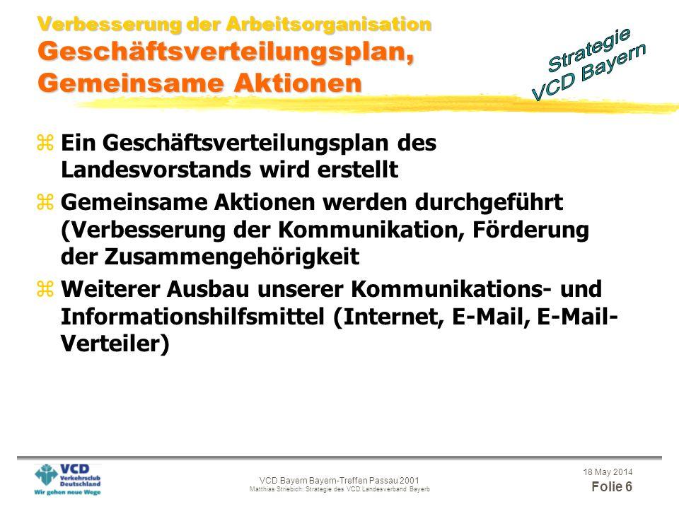 18 May 2014 Folie 5 VCD Bayern Bayern-Treffen Passau 2001 Matthias Striebich: Strategie des VCD Landesverband Bayerb Strategie 2006 Politische Durchse