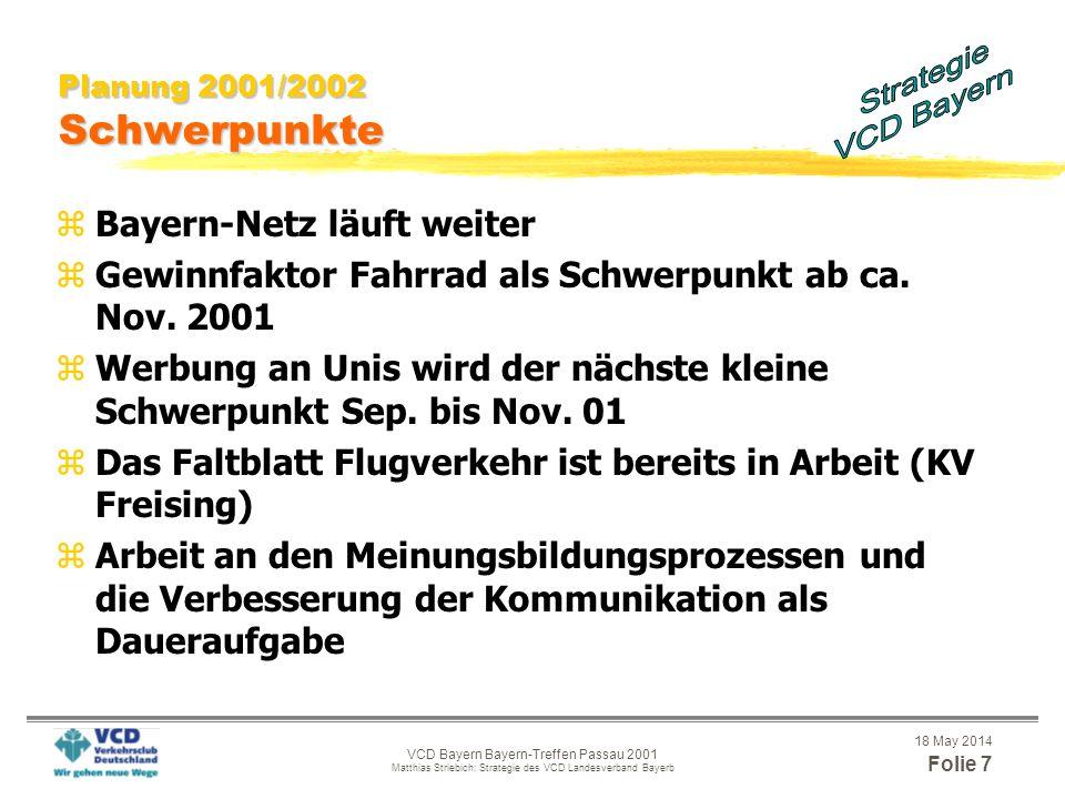 18 May 2014 Folie 6 VCD Bayern Bayern-Treffen Passau 2001 Matthias Striebich: Strategie des VCD Landesverband Bayerb Verbesserung der Arbeitsorganisat