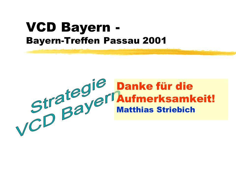 18 May 2014 Folie 7 VCD Bayern Bayern-Treffen Passau 2001 Matthias Striebich: Strategie des VCD Landesverband Bayerb Planung 2001/2002 Schwerpunkte zB