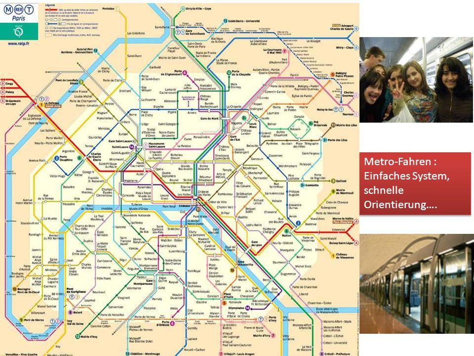 Metro-Fahren : Einfaches System, schnelle Orientierung….