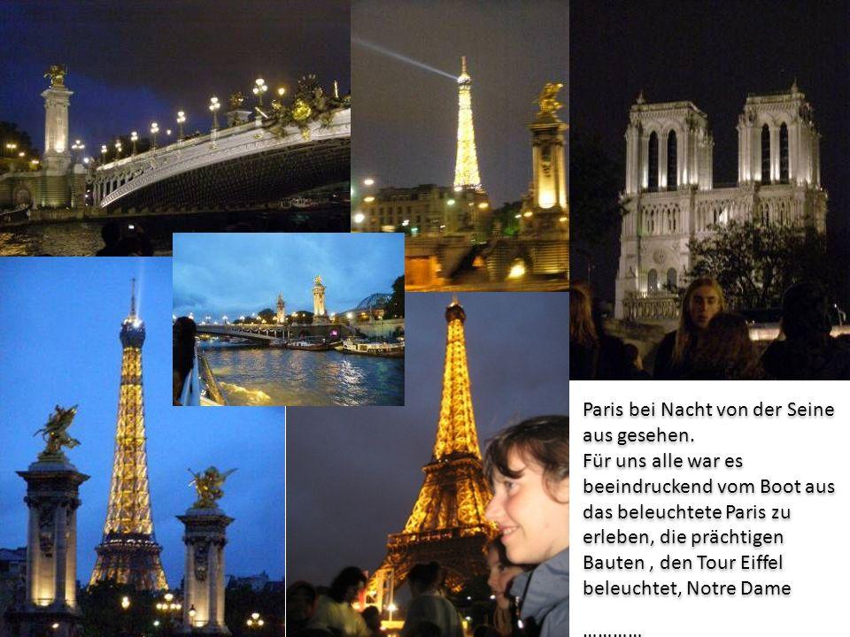 Paris bei Nacht von der Seine aus gesehen. Für uns alle war es beeindruckend vom Boot aus das beleuchtete Paris zu erleben, die prächtigen Bauten, den