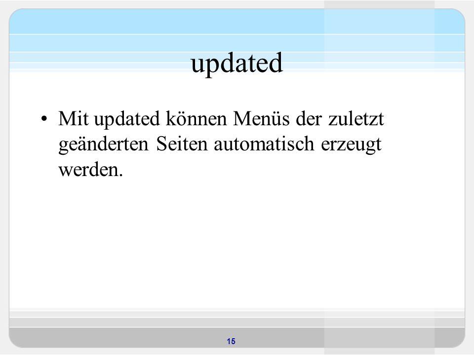 15 updated Mit updated können Menüs der zuletzt geänderten Seiten automatisch erzeugt werden.