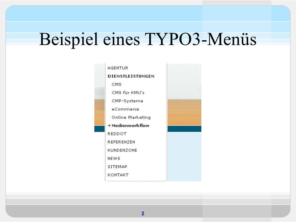 2 Beispiel eines TYPO3-Menüs