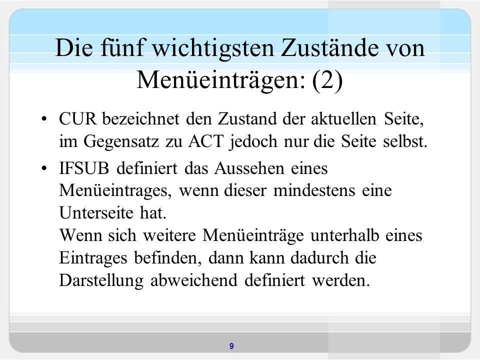 9 Die fünf wichtigsten Zustände von Menüeinträgen: (2) CUR bezeichnet den Zustand der aktuellen Seite, im Gegensatz zu ACT jedoch nur die Seite selbst