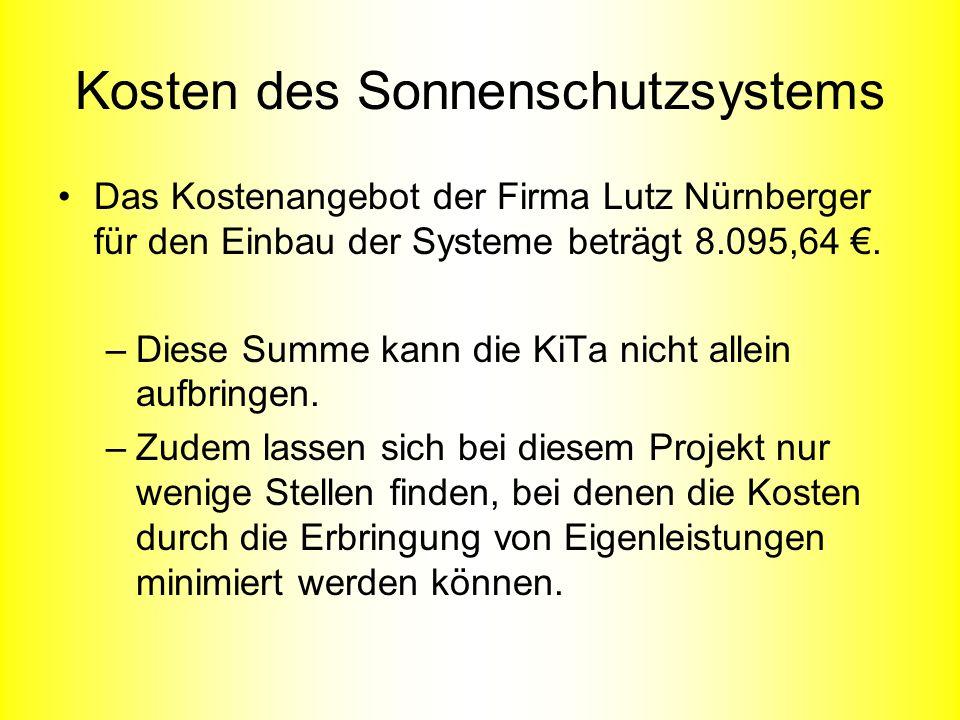Kosten des Sonnenschutzsystems Das Kostenangebot der Firma Lutz Nürnberger für den Einbau der Systeme beträgt 8.095,64. –Diese Summe kann die KiTa nic
