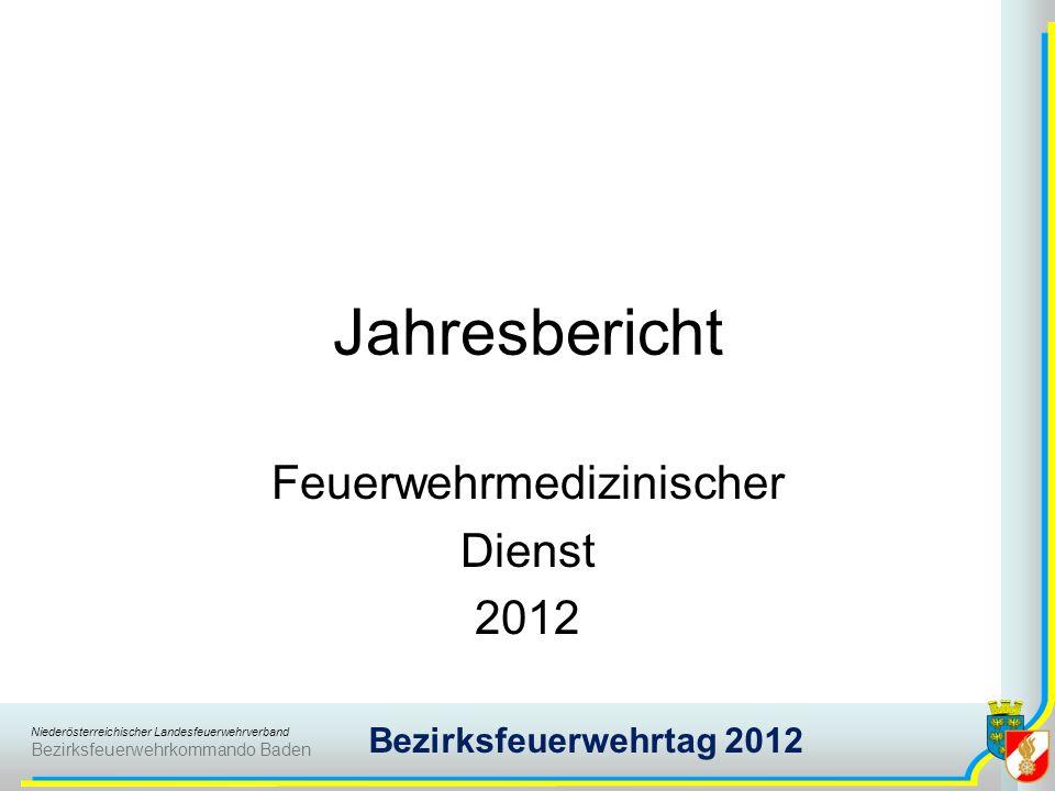 Niederösterreichischer Landesfeuerwehrverband Bezirksfeuerwehrkommando Baden Bezirksfeuerwehrtag 2012 Jahresbericht Feuerwehrmedizinischer Dienst 2012