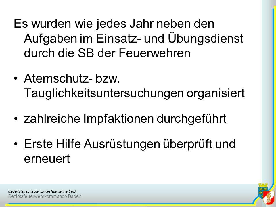 Niederösterreichischer Landesfeuerwehrverband Bezirksfeuerwehrkommando Baden Wie jedes Jahr wurden die Atemschutzgeräteträgerlehrgänge durch den FMD begleitet und dabei in bewährter Weise die richtige Handhabung von Rettungsgeräten und –griffen gelehrt.