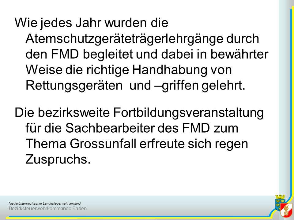 Niederösterreichischer Landesfeuerwehrverband Bezirksfeuerwehrkommando Baden Wie jedes Jahr wurden die Atemschutzgeräteträgerlehrgänge durch den FMD b