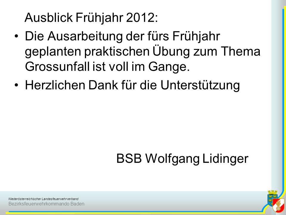 Niederösterreichischer Landesfeuerwehrverband Bezirksfeuerwehrkommando Baden Ausblick Frühjahr 2012: Die Ausarbeitung der fürs Frühjahr geplanten prak