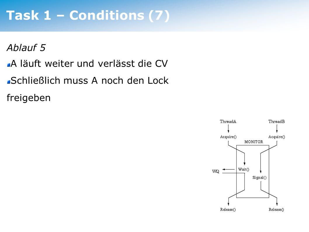 Task 1 – Conditions (7) Ablauf 5 A läuft weiter und verlässt die CV Schließlich muss A noch den Lock freigeben