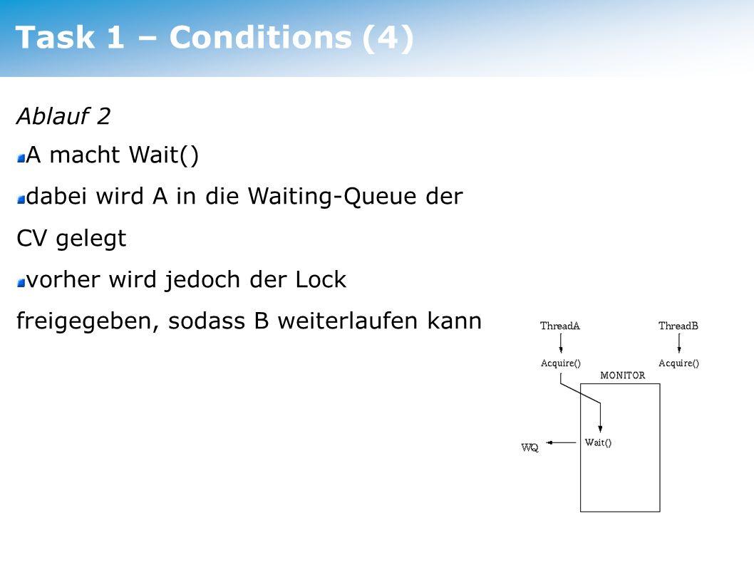 Task 1 – Conditions (5) Ablauf 3 B läuft weiter und macht irgendwann ein Signal() dadurch wird A aus der Waiting-Queue geholt da Signal() atomar ist kommt A aber noch nicht zur Ausführung ausserdem fordert A sofort nachher – noch in der Wait() - der Lock wieder an und wird wieder blockiert