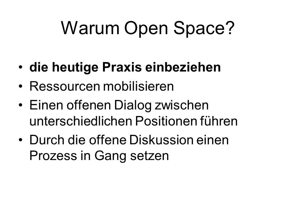 Warum Open Space? die heutige Praxis einbeziehen Ressourcen mobilisieren Einen offenen Dialog zwischen unterschiedlichen Positionen führen Durch die o