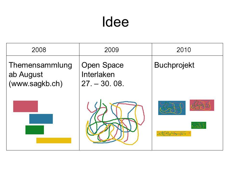 Idee Themensammlung ab August (www.sagkb.ch) 2008 Open Space Interlaken 27. – 30. 08. 2009 Buchprojekt 2010