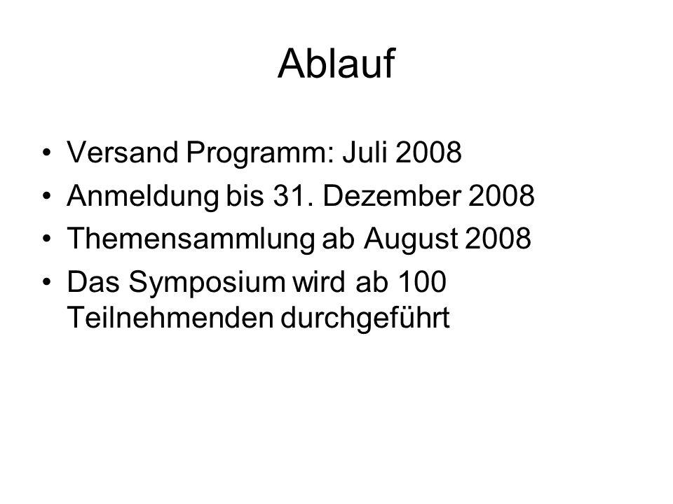 Ablauf Versand Programm: Juli 2008 Anmeldung bis 31. Dezember 2008 Themensammlung ab August 2008 Das Symposium wird ab 100 Teilnehmenden durchgeführt